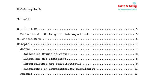 BoE-Rezeptbuch Inhaltsverzeichnis